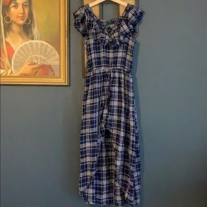 Navy Plaid Long Dress